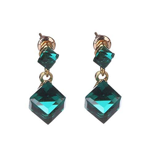 Fainosmny Women Earring Cute Girls Jewelry Valentine Gifts Ladies Fashion Square Crystal Gemstone Simple Gem Stud Earrings Green