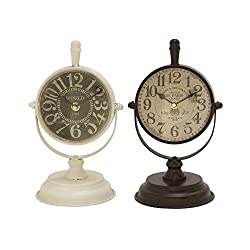 Deco 79 92253 Metal Table Clock, 6 x 11
