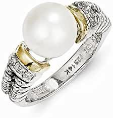 Sterling Silver with 14k Diamond & FW Cultured Pearl Ring