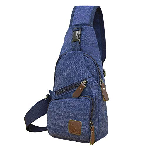 (REDCAMP Canvas Sling Bag, Lightweight Small Crossbody Daypack, Shoulder Chest Sling Backpack for Men and Women Travel Sports Blue )