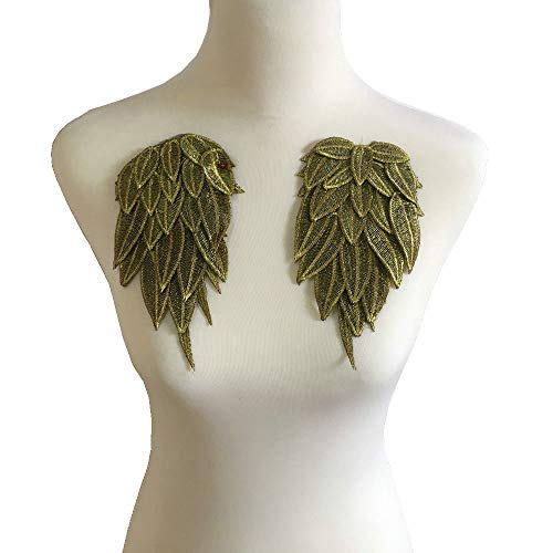 1Pair White Embroidered Angel Wings 15.8 6.2 inch (Gold Small) -