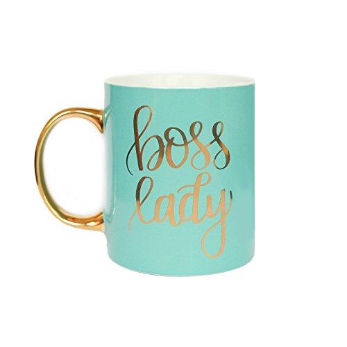 Mint Boss Lady Coffee Mug Gold Handle Coffee Mug Boss Babe Girl Boss Mug Girl Boss Coffee Mug Gift For Boss Large Gold Handle Coffee Mug, Hand Lettered Mug by Sweet Water Decor 11oz Fine Bone China - Large China Coffee Mug
