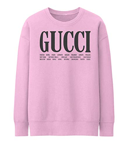 28a1f98d743b World Cities Gucci Design Front Letters Pink Solid Color Unisex Size  Sweater Sweatshirt (S)