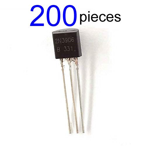 McIgIcM 200pcs 2n3906 pnp Transistor,2n3906 Bipolar (BJT) Transistors PNP 40V 200mA 250MHz 600mW Through Hole TO-92