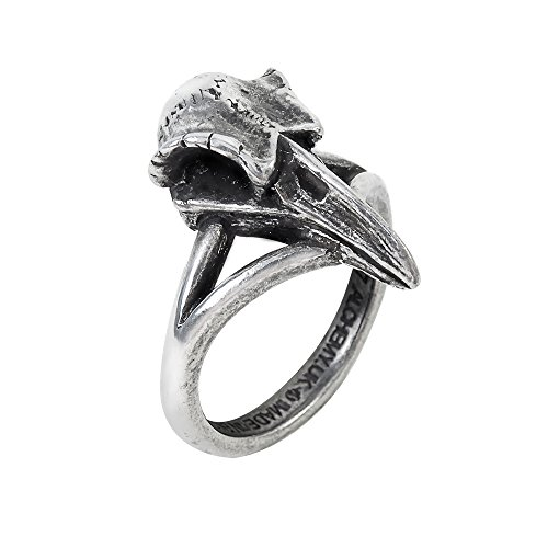 Victorian Snake Ring (Womens Fashion Jewelry Ring Gothic Litte Raven Skull Black Bird Prophetic Powers Omen Bringer)