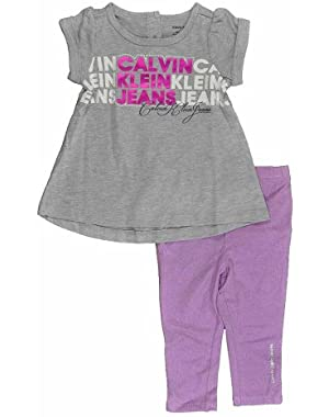 Newborn Girls S/S Gray Tunic 2pc Lilac Glitter Legging Set
