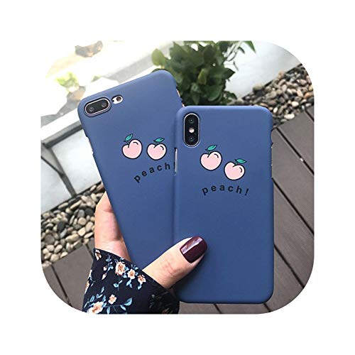 for iPhone 6 7 8 X XR Case Fundas iPhone Xs Max 6 S 6s 7Plus 8Plus Case Cover for iPhone 6 7 8 Plus Case Hard Blue Peach Case,Blue,for iPhone XR]()