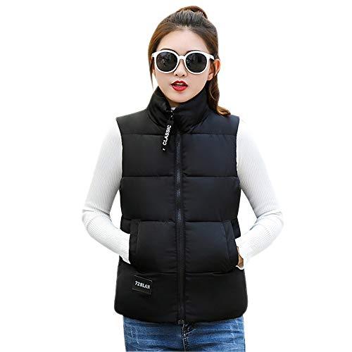 Negro Invierno Casual Chaqueta Bozevon Outwear Disfraz Sección Otoño Sencillo Corta Sin Mangas f7aqOw