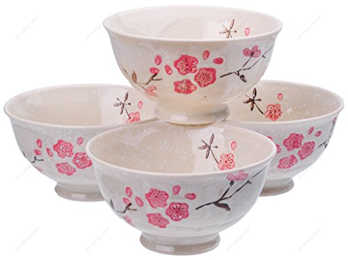 M.V. Trading SN6645S4 Ceramic Rice Soup Noodle Bowl with Sakura Design, 8-Ounces (1 Cup), 4-1/2 Inches (W) x 2-1/2 (H), Set of 4