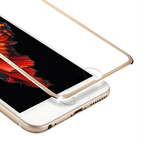 VIUME iPhone 6 Screen Protector, 3D Touch Full Coverage Tempered Glass Screen Protector Metal Edge to Edge Apple iPhone 6s Film - 4.7 (Metal Gold)