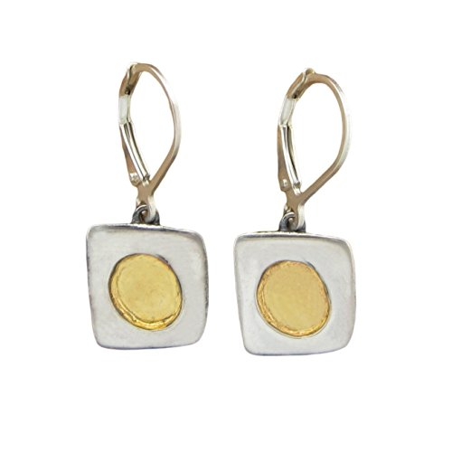24K and Sterling Silver Modern Earrings by Mark Poulin Workshop