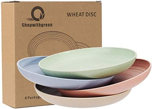 Shopwithgreen Lightweight Unbreakable Wheat Straw Plates Extra Large-4 Pack 8.8 Deep Dinner Plates for Kids,Toddler Adult Dishwasher Microwave Safe