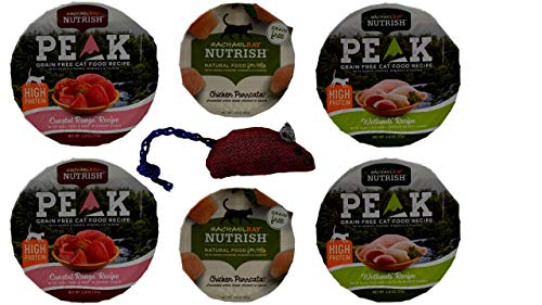 (Rachel Ray Nutrish Grain Free Wet Canned Cat Food 3 Flavor with Catnip Toy Sampler Bundle, 2 Each: Wetlands, Chicken Purrcata, Coastal Range (2-2.8 Ounces))