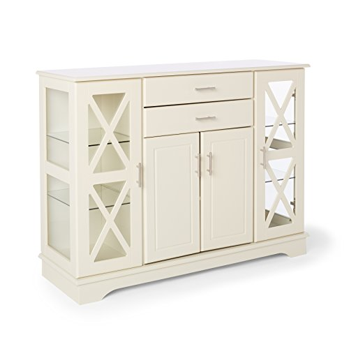 Classic Antique White Buffet Transitional China Cabinet Shabby Chic Sideboard French Country Buffet Combination of Functionality and Storage for Dishes Silverware , BONUS E-book
