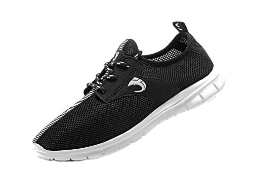 Fanic Men's Comfortable Breathable Casual Running Shoes Full Mesh Lightweight Athletic Walking Shoes (44 M EU / 10 D(M) US, Black)