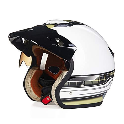 Sunzy Motorcycle Open face Helmet Harley, Retro Adult Men and Women Evergreen Street Bike 3/4 Helmet Built-in Lens/DOT Certification,M