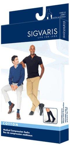 Sigvaris Men's Cotton Ribbed Knee High Socks 20-30mmHg Closed Toe Long Length, X-Large Long, Navy