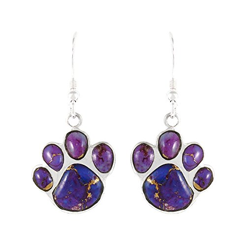 Dog Paw Purple Turquoise Earrings in Sterling Silver & Genuine Turquoise - Purple Silver