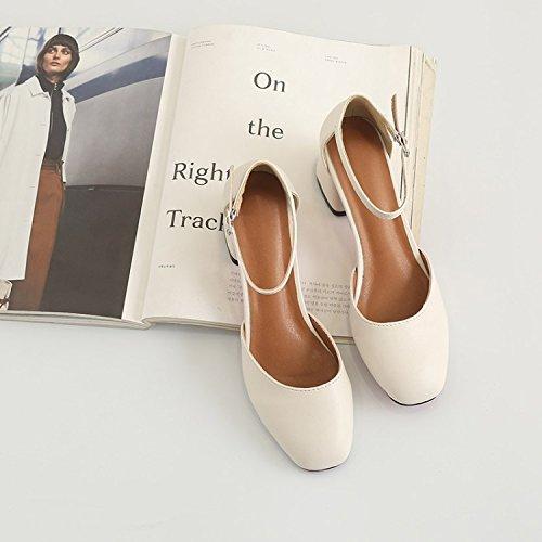 Heavy À Chaussures Light Femmes Creux Heel EU40 SHOESHAOGE L'High Avec Crénelé Carrée Des Simples Chaussures Retro Shoes Boucle Sandales Baotou Tête qP7Owv