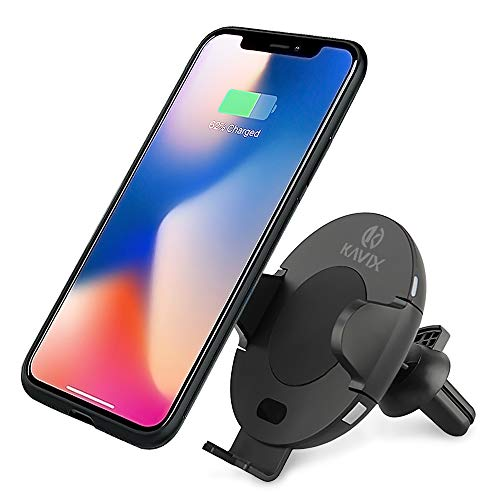 Fast QI Wireless Car Charger | Car Charging Station | KAVIX Car USB Charger | Automatic Open & Clamp | Phone Holder Cradle | Car Cell Phone Charger | Wireless Charger for Many Phone Models | Best Gift