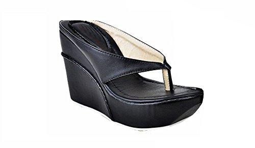 2015 High Heels Women Flip Flops Summer Sandals Platform Wedges Slippers Girl's Fashion Beach Shoes schwarz