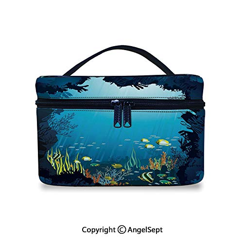 - Hot Sale Makeup Bag With Compartments,Topical Underwater Cave Fishes Swimming Marine Coral Reefs Exotic Aquatic Beauty Image Dark Blue,10x7x6inches,Waterproof Cosmetic Travel Bag