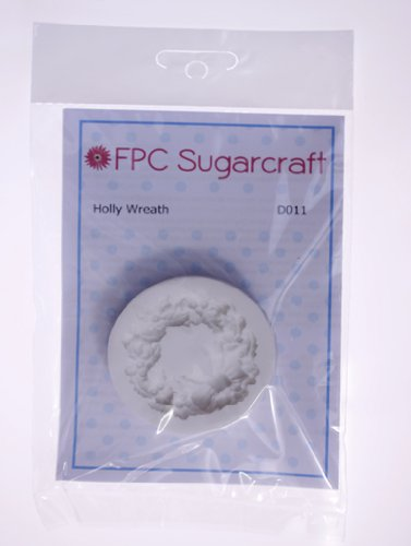 Silicone Icing Mould for Cake and Cupcake Decoration by FPC Holly Wreath