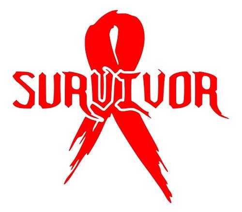 (UR Impressions Red Cancer Survivor Ribbon Decal Vinyl Sticker Graphics for Cars Trucks SUV Vans Walls Windows Laptop Tablet|RED|5.5)