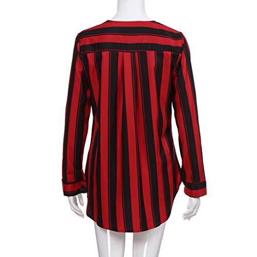 collo da scollo Rosso Elecenty alto Elegante Donna maniche lunghe da Shirt V donna a Elegante Top T Magliette Camicie a a R8xXvw8
