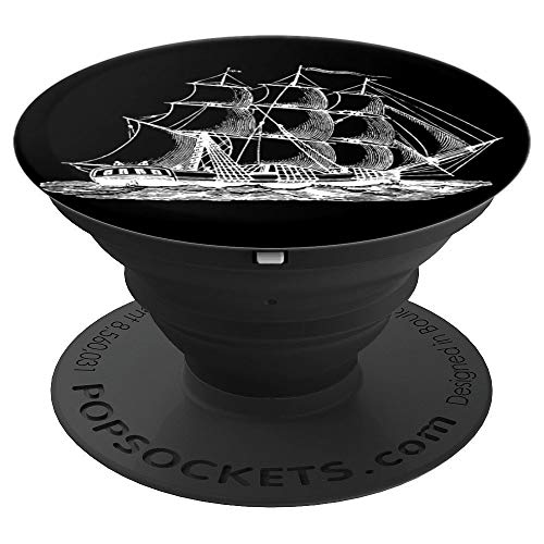 (Tall Ship Barque Brig Schooner Sailing Vessel White on Black - PopSockets Grip and Stand for Phones and)