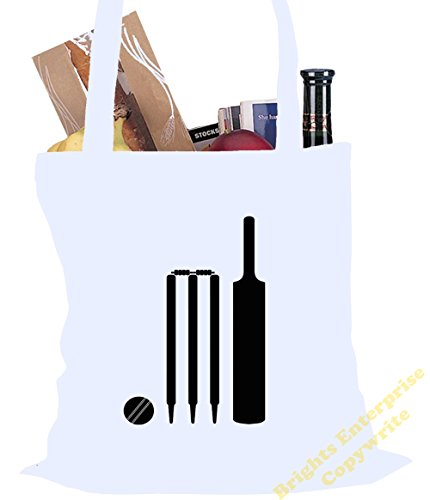 Tote Shopping Gym Beach Bag (#34) with a silhouette image of cricket bat, stumps and ball - Size 38 x 42 cm 10 litres - from our unique tote reuseable bag range. An original Birthday or Christmas stoc White