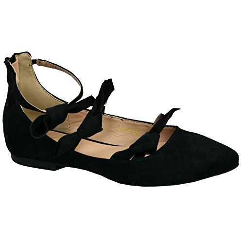3 Zip 8 Size Fashion Flats Bow Toe Black Cucu Back UK Pointed Ballerina Womens Shoes New Ladies 6FzZR