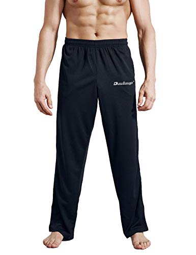 - Duuluup Men Sport Pants - Quick Dry Active Sports Jersey Pants with Pockets(Black,XL)