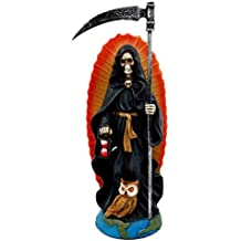 "Atlantic Collectibles 7.25"" Tall Holy Death Santa Muerte Holding Scythe In Tunic Robe Day of The Dead Decorative Figurine (Black)"