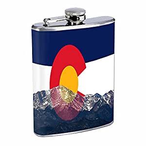 Perfection In Style Stainless Steel Flask Colorado Flag Design 009 8oz