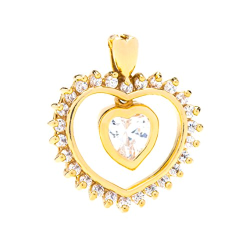 Lifetime Jewelry Heart Necklace, Cubic Zirconia Dangle Pendant, Comes