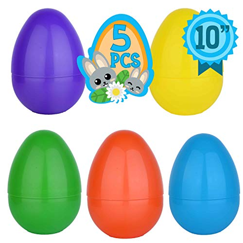 Totem World 5 Jumbo 10-Inch Easter Egg in Assorted Colors - The Perfect Size For Holding Toys, Candy Bars, And Stuffed Animals - Easy To Open, Tough To Break - Great As Party Favors And Easter Basket Stuffers ()