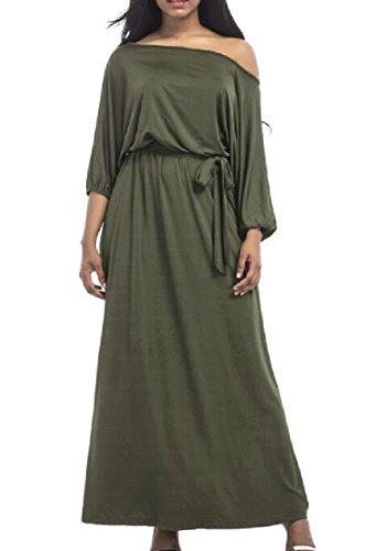 Coolred Verde Obliqua Del Strappy Palangaro donne Di Colore Militare Manicotto Lungo Vestito Solido APrAaq