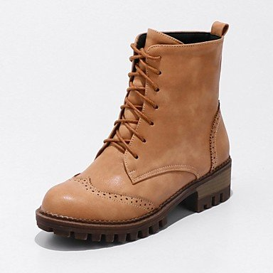 RTRY Women'S Shoes Leatherette Spring Winter Cowboy / Western Boots Fashion Boots Boots Chunky Heel Round Toe Booties/Ankle Boots Lace-Up For US6.5-7 / EU37 / UK4.5-5 / CN37 nN5TIM80Rt