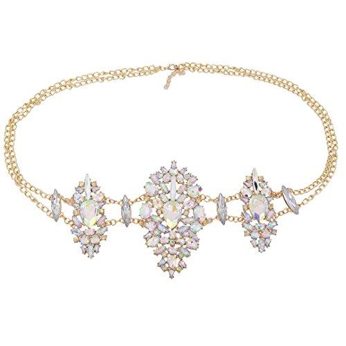 - Gabrine Women Girls Body Jewelry Rhinestone Hot Sexy Waist Bikini Belt Belly Body Adjustable Chain Link(Multicolor)