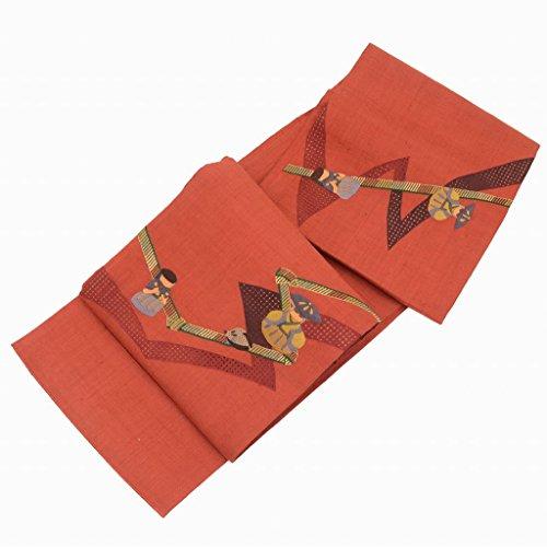 友情グッゲンハイム美術館本体袋帯 リサイクル 中古 正絹 ふくろおび 洒落袋 人形文様 赤系 スワトウ刺繍 美品 特選 ll0560a10