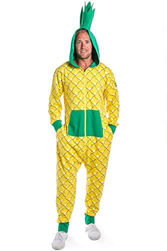 Tipsy Elves Men's Funny Food Pineapple Costume - Tropical Fruit Costume Halloween Jumpsuit: X-Large Yellow