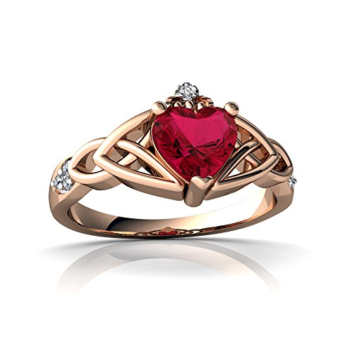 14kt Gold Lab Ruby and Diamond 6mm Heart Claddagh Trinity Knot Ring