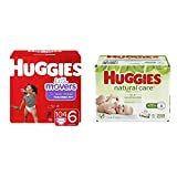 BUNDLE HUGGIES Little Movers Diapers, Size 6, 104 Count (Packaging May Vary) & HUGGIES Natural Care Unscented Baby Wipes, Sensitive, 6 Disposable Flip-top Packs (288 Total Wipes)