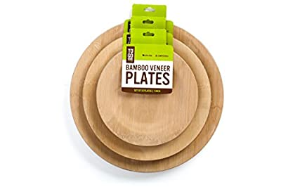 "11"" Bamboo Veneer Plates- 10 pack- by To-Go Ware"