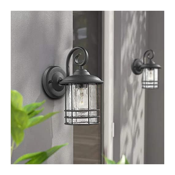 Emliviar 1-Light Outdoor Wall Lantern 2 Pack, Exterior Wall Lamp Light in Black Finish with Clear Seeded Glass -Twin Pack, OS-1803CW1 - Weather resistant and suitable for wet locations, these two pack outdoor wall lights features sturdy metal construction and seeded glass shade Easy installation with open bottom to allow for easy bulb replacement. Includes all mounting hardware Hard wired. Requires 1x E26 base bulb(Max.100W) per light. Bulb NOT included - patio, outdoor-lights, outdoor-decor - 41lPOpw3DGL. SS570  -