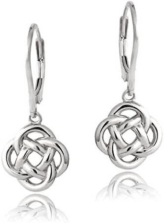 Hoops & Loops Sterling Silver Love Knot Flower Dangle Leverback Earrings