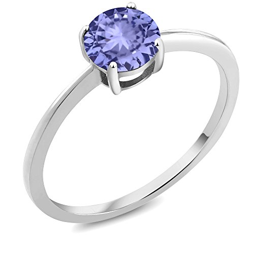 10K White Gold Engagement Promise 0.90 Ct Round Blue Tanzanite