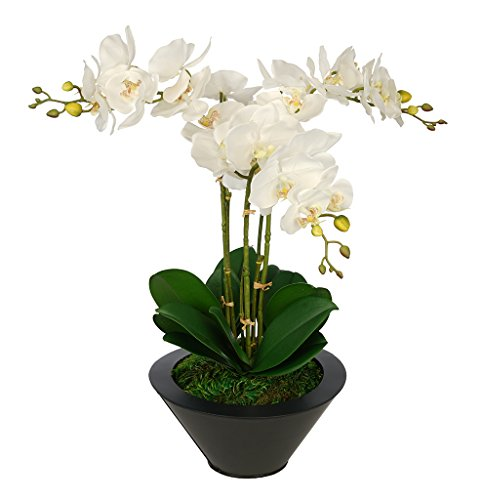House of Silk Flowers Artificial White Triple Stem Orchid in Round Zinc Vase (Black)