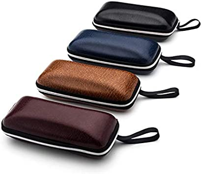 16 MoGist Glasses Case Stylish Plain Smooth Leather with Zip Glasses Case Shock Absorbing Bag for Glasses Sunglasses 5cm Black 6